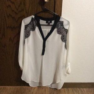 Tops - White and black IZ large blouse